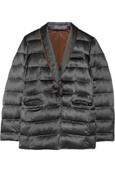 Brunello Cucinelli Reversible Quilted Satin Jacket Blue