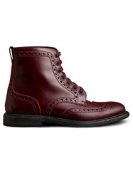 Burberry Brogue Detail Polished Leather Boots Red
