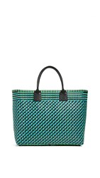 Truss Large Tote With Leather Handle Turquoise Green