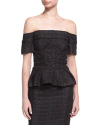 J. Mendel Geometric Lace Off The Shoulder Top Black