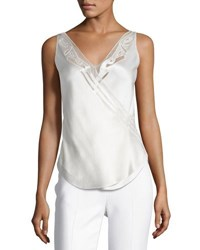 Maiyet Sleeveless V Neck Silk Top White