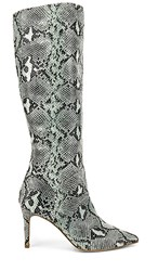 Steve Madden Kinga Heeled Boot In Blue. Blue Snake