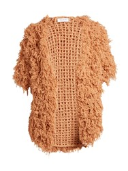 Ryan Roche Open Front Looped Cashmere Cardigan Beige