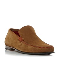 Loake Nicholson Contrast Stitch Suede Loafers Tan