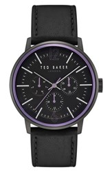 Ted Baker London Jason Multifunction Leather Strap Watch 42Mm Grey Black