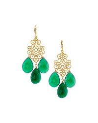 Indulgems Green Onyx Filigree Chandelier Earrings Women's