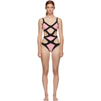 Agent Provocateur Pink And Black Mazzy One Piece Swimsuit