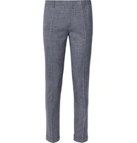Paul Smith Navy Soho Slim Fit Tapered Puppytooth Wool Silk And Linen Blend Suit Trousers Blue