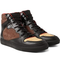 Balenciaga Leather Textured Nubuck And Cork High Top Sneakers Black
