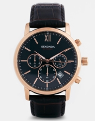 Sekonda Chronograph Watch With Brown Leather Strap