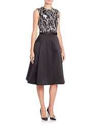Jason Wu Embroidered Silk Cotton Satin Twill Dress Black