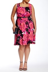 London Times Cluster Rose Full Skirt Dress Plus Size Pink