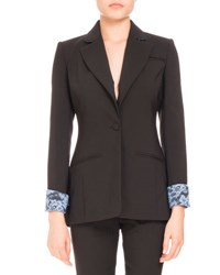 Altuzarra Single Button Lace Trim Blazer Black Blue Lace