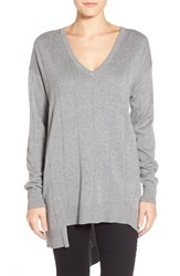 Petite Women's Vince Camuto Drop Stitch Asymmetrical V Neck Sweater Steel Grey