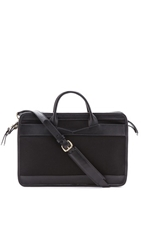 Lotuff Leather Slim Zipper Canvas And Leather Briefcase