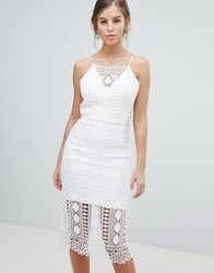 Chi Chi London Lace Midi Dress With V Back White