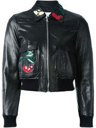 Red Valentino Cherry Patch Leather Jacket Black