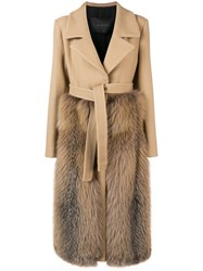 Blancha Belted Double Breasted Coat Nude And Neutrals