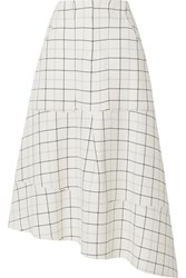 Tibi Asymmetric Checked Woven Midi Skirt White