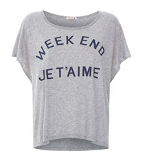 Sundry Weekend Je T'aime Oversized T Shirt Female Light Grey