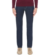 Canali Soft Regular Fit Mid Rise Jeans Navy