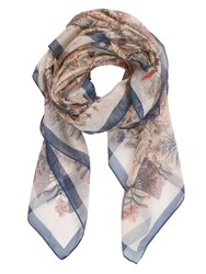 Chesca Butterfly And Leaf Printed Scarf Navy