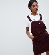 Asos Design Tall Cord Dungaree Dress In Oxblood Red