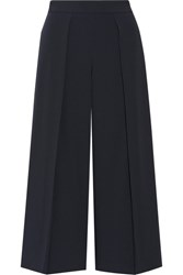 Rag And Bone Rowe Cropped Pleated Crepe Wide Leg Pants Midnight Blue