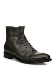 John Varvatos Fleetwood Leather Ghost Stitch Boots Dark Charcoal