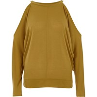River Island Womens Dark Yellow Cold Shoulder Batwing Top