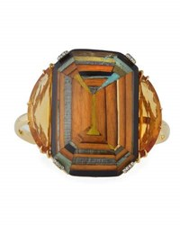Muse Marquetry Geometric Yellow Wood Bracelet With Diamonds And Citrine
