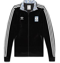 Adidas Consortium Have A Good Time Logo Embroidered Striped Velour Track Jacket Black