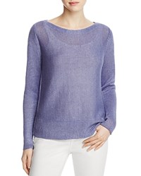 Eileen Fisher Bateau Neck Open Weave Sweater Blue Angel