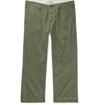 Remi Relief Studded Cropped Cotton Twill Chinos Green