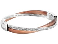 Michael Kors Autumn Luxe Acetate And Stainless Cross Hinged Bangle Bracelet Silver Bracelet