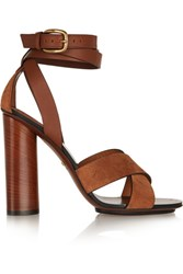 Gucci Leather And Suede Sandals Light Brown