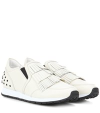Tod's Sportivo Frangia Leather Sneakers Neutrals