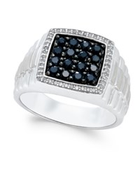Macy's Men's Black Sapphire 1 Ct. T.W. And White Sapphire 1 5 Ct. T.W. Ring In Sterling Silver
