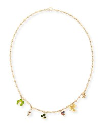 Turner And Tatler Mixed Clover Charm Necklace With Ruby Sapphire Diamond