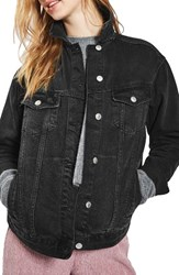 Topshop Women's Oversize Denim Jacket Washed Black