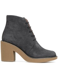 Jil Sander Navy Lace Up Boots Leather Suede Rubber Grey
