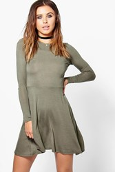 Boohoo Harriet Basic Long Sleeve Skater Dress Khaki