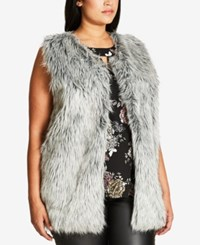 City Chic Trendy Plus Size Faux Fur Vest Grey Smoke