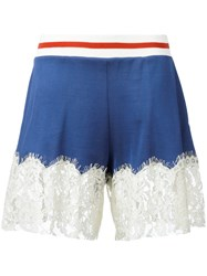 Maison Martin Margiela Mm6 Lace Trim Shorts Blue