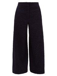 Raey Elasticated Back Wide Leg Textured Trousers Navy