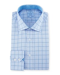 English Laundry Check Woven Dress Shirt Blue Gray