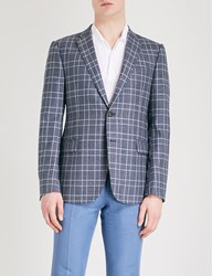 Emporio Armani Checked Modern Fit Wool And Silk Blend Jacket Blue