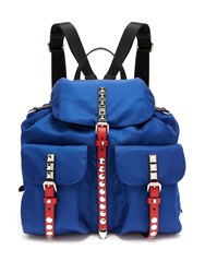 Prada New Vela Stud Embellished Backpack Blue Multi