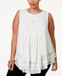 American Rag Plus Size Crochet Swing Top Only At Macy's Egret