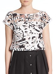 Milly Surrealist Printed Fil Coupe Crop Top Black White